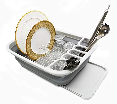 SAMMART Escurridor de platos plegable con escurridor, juego de rejilla de secado plegable, organizador portátil de vajilla – Ahorro de espacio (gris)