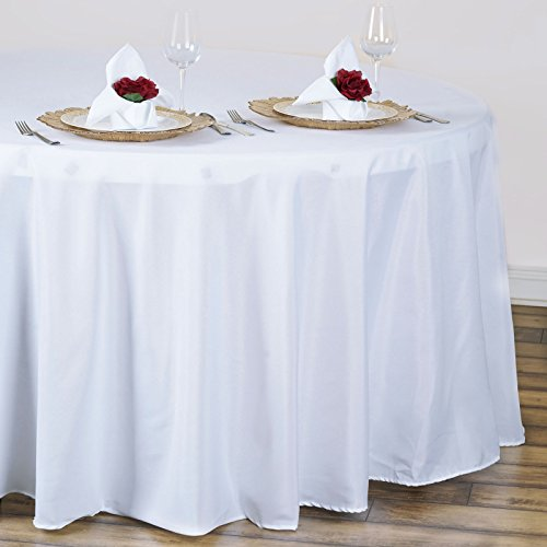 BalsaCircle 10 pcs 120 inch White Round Tablecloths Fabric Table Cover Linens for Wedding Party Polyester Reception Banquet Events Kitchen Dining