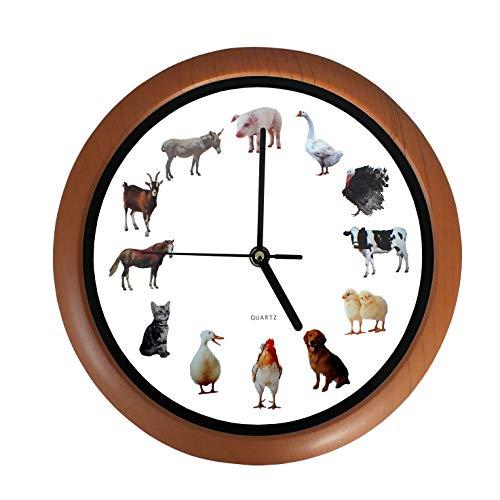 SAFE Wanduhr Tierstimmen, Lernuhr Kinder Wanduhr, Kinderuhr Wand, Bauernhofuhr mit 12 Tieren vom Land