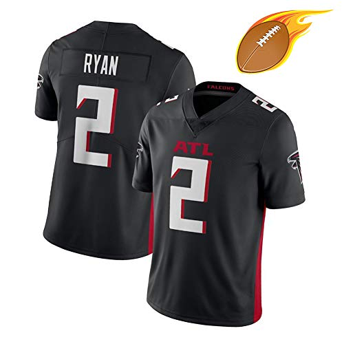 Matt Ryan-Atlanta Falcon Erwachsene Männer Rugby-Trikot, 2# American Football Fans trainieren Klassische T-Shirts, Outdoor Sport Kurzarm atmungsaktiv Schweiß-Black-M