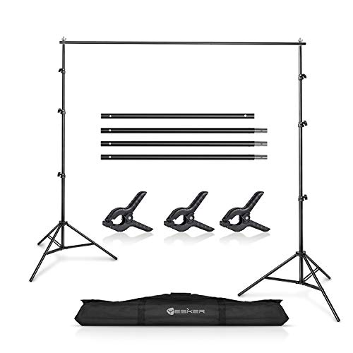 Yesker 10 X 10 ft Photo Video Studio Background Support Stand, Adjustable Heavy Duty Photography Backdrop Support System Kit for Photoshoot Party Video Creator