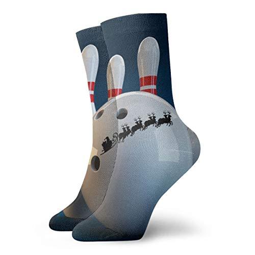 Pengyong Weiße und rote Bowling-Socken mit weihnachtlichem Design, atmungsaktiv, Laufen, Training, Arbeit, Sport, Wandersocken, für Männer und Frauen