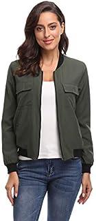 MISS MOLY Women's Bomber Jackets Lightweight Casual Zipper Long Sleeve Fall Outwear Thin Jacket with Pockets