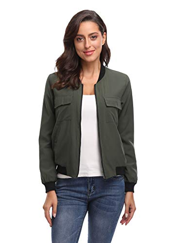 MISS MOLY Women's Bomber Jackets Casual Zipper Lightweight Coat Long Sleeve Bomber Outwear Jacket with Pockets-Army Green M