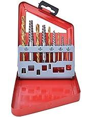 LANTRO JS - 10-delige boorschroefextractorset Linkshandige vergulde boor gelegeerd staal schroefextractorset