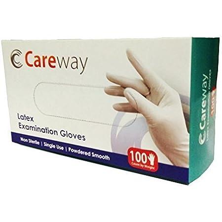 Careway Latex Medical Examination Disposable Hand Gloves, White, Medium, 100 Piece