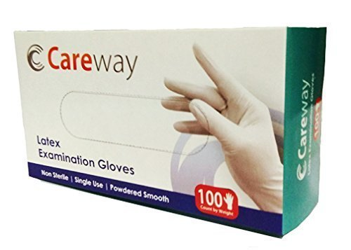 Careway Latex Medical Examination Disposable Hand Gloves, White, Medium, 100 Piece