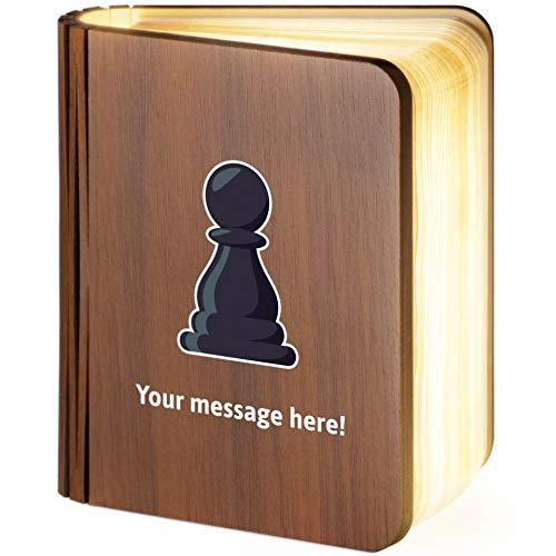 Leselampe aus Holz, faltbar, magnetisch, mit Schachfiguren-Emoji, personalisierbar, S