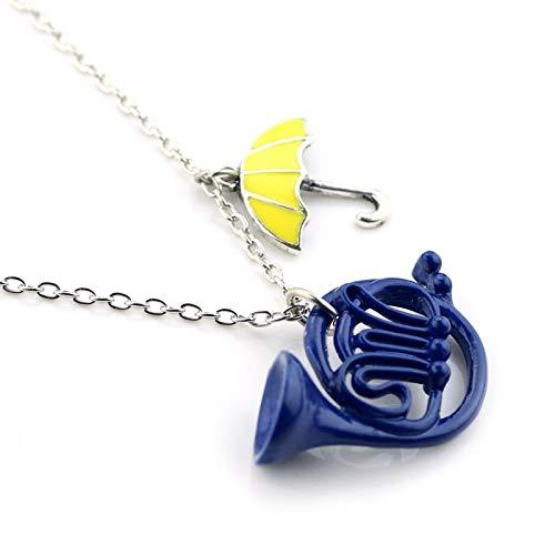 FUKAI Moda Simple Cómo Conocí A Tu Madre Collar Paraguas Amarillo Azul Cuerno Francés Collar Colgante Regalo para Fanáticos Damas
