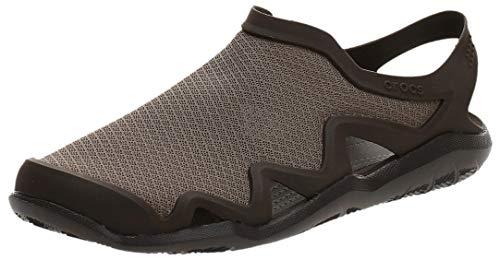 Crocs Men's Swiftwater Mesh Wave Sandals Water Shoe, Walnut/Espresso, 10