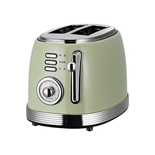 hanzeni Retro-Toaster, 6 Farbeinstellungen Extra-Breitschlitz-Toaster, Abbrechen, Auftauen, Aufheizfunktion Abnehmbare Krümelschale (2 Scheiben, Grün)