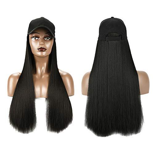 Limeow Zwarte baseballpruik extensies als echt haarstukje gesimuleerde zwarte pruik natuurlijk verstelbaar mooi en eenvoudig te dragen dagelijks jurk party cosplay 1 stuk zwart