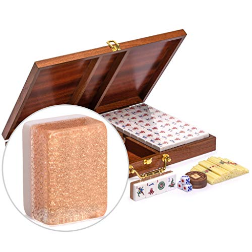Yellow Mountain Imports Classic Chinese Mahjong Game Set - Champagne Gold - with 148 Medium Size Tiles, a Wooden Case, Betting Sticks, 3 Dice, and a Wind Indicator - for Chinese Style Game Play
