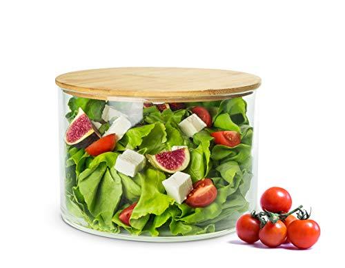 Sendez Salatschale mit Holzdeckel 20cm Glasschale Schale Schüssel Glasdose Salatschüssel Snackschale Schälchen Obstschale