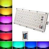 Himack® RGB LED Flood Light Multi Color with Remote Waterproof Landscape IP66