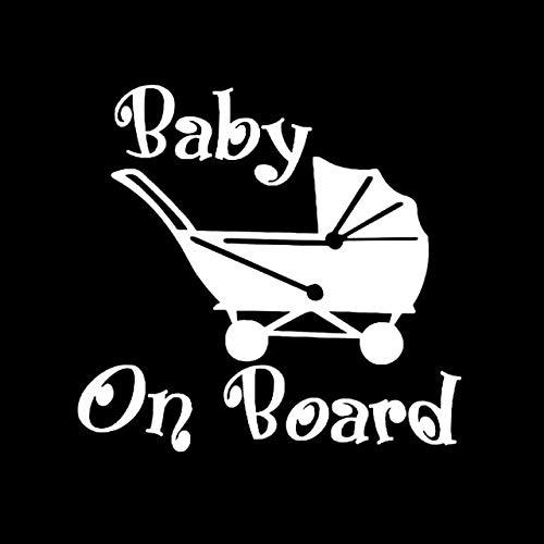 A/X 16 CM * 15,2 CM bebé a Bordo Vinilo Coche calcomanía Divertido Cochecito de bebé Parachoques Pegatina Negro/Plata C10-00727Plata