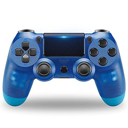 Controller di gioco PS4, controller di gioco Gamepad ad alte prestazioni con funzione audio a doppia vibrazione, per Playstation 4 con cavo USB Compatibile con PC Windows-Blu trasparente