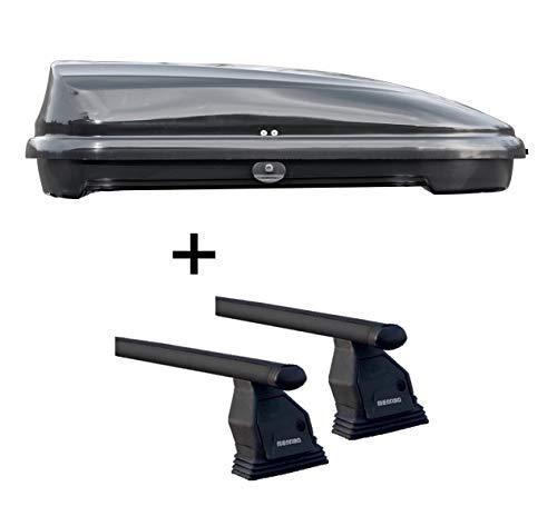 Dachbox VDPFL320 schwarz glänzend 320 Ltr + Dachträger Menabo Tema kompatibel mit Mercedes C-Klasse W205 (Stufenheck 4 Türer) ab 2014 Stahl