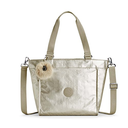 Kipling Damen New Shopper S Umhängetasche, Silber (Silver Beige), 15x24x45 centimeters