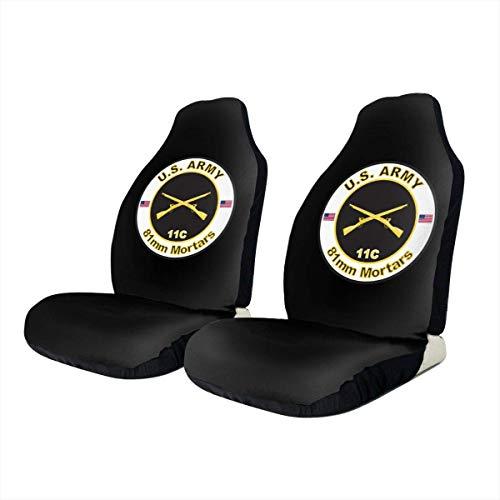 Front Seat Cover,Army Mos 11C 81Mm Mörser Autositzschutz, Personalisierte Vordere Autositzbezüge Für Die Meisten Fahrzeugautos,2pcs