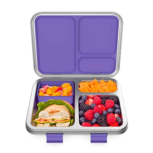 Bentgo Kids Stainless Steel Leak-Resistant Lunch Box - Bento-Style, 3 Compartments, and Bonus Silicone Container for Meals On-the-Go - Eco-Friendly, Dishwasher Safe, BPA-Free (Purple)