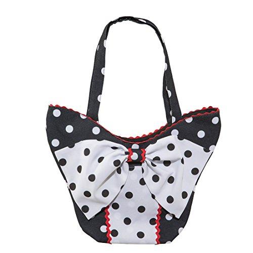 NET TOYS Vintage Tasche Polka Dots Rockabilly Handtasche gepunktet Damentasche 50er mit Schleife Rock'n'Roll Kostümzubehör