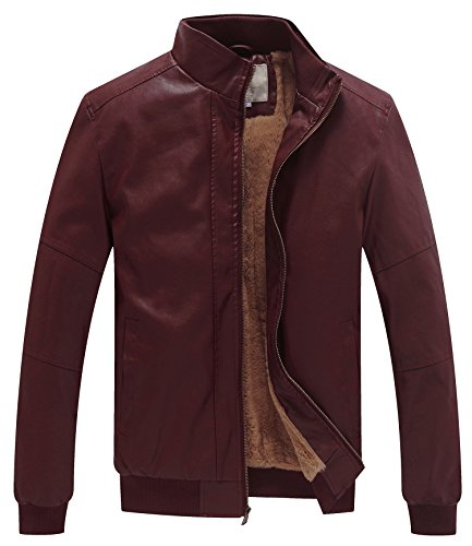 WenVen Men's Casual Stand Collar Motorcycle PU Faux Leather Jacket Wine Red L