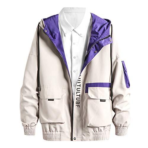 Zip Sweatjacke Herren für Kapuzenpullover für Herren, Holeider Kapuzenjacke Hoodie Kapuzen-Sweatshirt mit Reißverschluss Casual Mode Multi-Tasche Herrenjacke Mantel für Männer