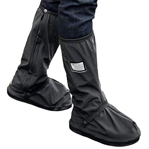 Dadidyc Rain Boot Shoe Cover with Reflector Rainsuit Raingear Motorcycle Road Bike Cruiser Chopper Driving Biker Gear Boot Shoe Cover Waterproof Black (1 Pair)