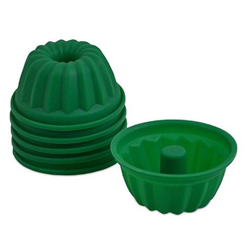 achilles Mini Bundt Cake Set de 6 moules à gâteaux en Silicone Moules à gâteaux Muffin Cupcake tin Réutilisable Vert 7,5 cm x 3,5 cm