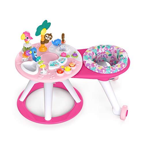 Bright Starts 12664 Centro de actividades con asiento giratorio Around We Go,Tropic Coral, luces y música, juguetes interactivos, desarrollo cognitivo y motor fino,desde 6 meses hasta 2 años, niñas