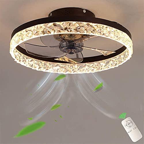 Ventilador de techo LED con iluminación, moderno, ultra silencioso, invisible, con ventilador regulable, luz de techo, con control remoto, para sala de estar, dormitorio, habitación de niños (Color: G
