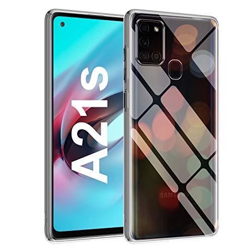 Whew Crystal Clear Samsung A21s Hülle, [Transparent Anti-Gelb] Hard PC Back & Soft Silikon Ultra Hybrid Samsung Galaxy A21s Handyhülle Durchsichtig Silikon Schutzhülle Slim Case - Ultra Dünn