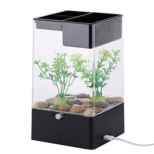 JIANGU Kleines Acryl-Öko-Aquarium - Transparenter Schreibtisch Selbstreinigendes Aquarium