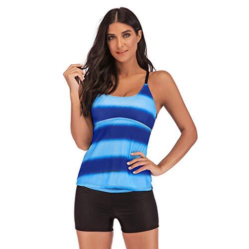 GOKOMO Frauen Plus Größe hohe Taille konservativen Farbverlauf Split Badeanzug Plus Größen-Steigungs-Tankini-Bikini-Badebekleidungs-Badeanzug-Badeanzug(Dunkelblau,XXXXX-Large)