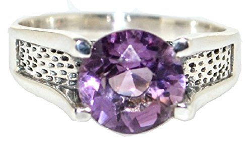 Gents Solid 925 Sterling Silver Authentic Amethyst Mens Ring, Finger Sizes M to Z+5 Available (Z+4)