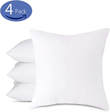 Emolli Decorative Throw Pillow Set - 4 Pack Microfiber Filled White Cotton Cover Throw Pillow Insert, 18 x 18 inches