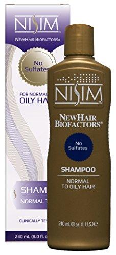 Nisim NewHair Biofactors Shampoo gegen Haarausfall, 1 Stück x 240 ml, Mittel für Haarwachstum, Öliges Haar, Keine Sulfate, Männer und Frauen
