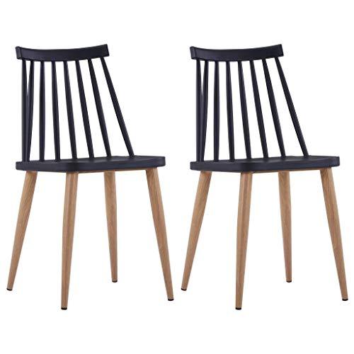 Cikonielf 2 sillas de comedor negras de plástico, 42 x 45,5 x 78 cm, asiento sin brazos para comedor con patas fabricadas en acero con efecto veteado de madera