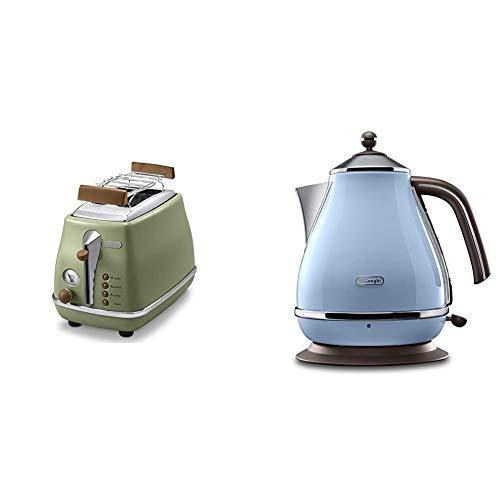 De'Longhi Toaster Icona Vintage CTOV2103.GR - 2-Schlitz-Toaster mit Brötchenaufsatz, grün & Wasserkocher Icona Vintage...