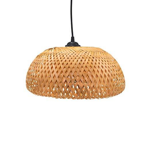 BOURGH Bambus Lampe GROSSETO - Lampe hängend mit Lampenschirm Bambus, 36 cm Durchmesser, korbgeflecht - Hängeleuchte Hängelampe Kronleuchter Deckenleuchte Pendelleuchte Schlafzimmerlampe Laterne