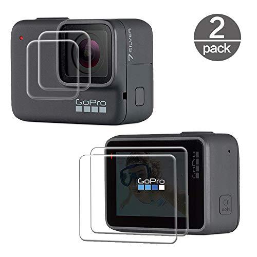 TUUT Película de Vidrio Templado 2X para GoPro Hero 7 Blanco/Plata, Protector de Pantalla Mejorado [9H] Dureza [HD] [Ultra Delgado] [Ultra Transparente] Protector de Pantalla de cámara de acción