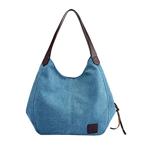 TUDUZ Damen Handtasche Canvas Beuteltasche Shopper Umhängetasche Vintage Schultertasche Tasche (Blau)