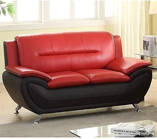 Best Kingway Furniture Montac Faux Leather Living Room Loveseat - Black/Red