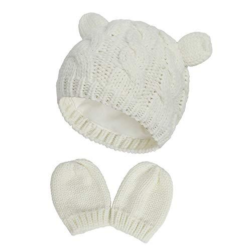 iSpchen Baby Mütze Handschuhe Set, Strickmützen mit niedlichen Bär Ohren Winter Beanie Handschuhe für Neugeborene & Kleinkinder 0 bis 18 Monaten
