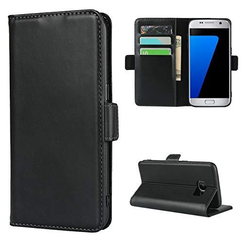Copmob Cover Samsung Galaxy S7 Edge,Premium Flip Vera Pelle Portafoglio Custodia,[3 Slot][Funzione Stand][Chiusura Magnetica],Custodia Cover per Samsung Galaxy S7 Edge - Nero
