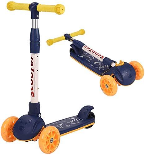 Scooter plegable 3 en 1 para niños de 3 a 6 años con ruedas de flash Función de música Altura ajustable 3 ruedas Kick Scooter para niños