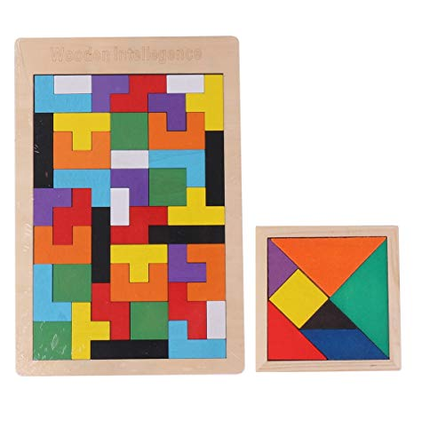 TiproPechka 木製 カラフル 知育パズル セット (テトリス / タングラム) ジグソーパズル 知育 玩具 おもちゃ 幼児 教育