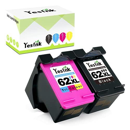 62XL Reemplazo reciclado para HP 62XL Cartucho HP 62 tinta HP 62 HP 62 XL tinta HP 62 Negro y Color con Officejet 200c 200 250 Envy 5544 5540 5545 5546 5640 (1 negro 1 Tricromia)