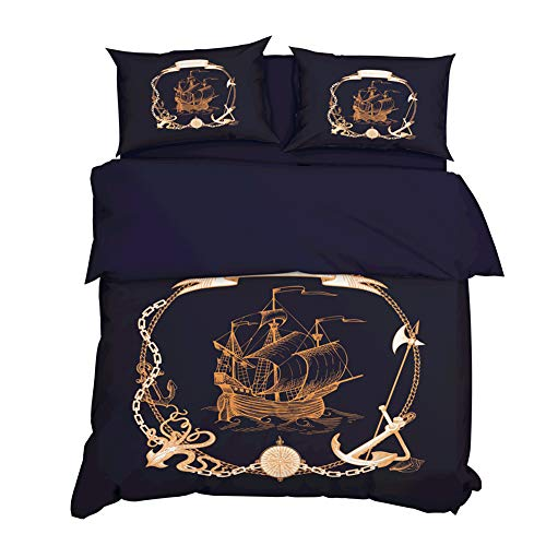 AYMAYO Bettwäsche-Sets,Ozean Abenteuer Fluch Der Karibik Boot Serie Bettbezug Und Kissenbezüge Set,Bettbezug 135 X 200 cm. (Blau,135×200cm)